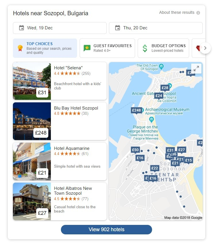 Google search for Hotels near Sozopol, Bulgaria