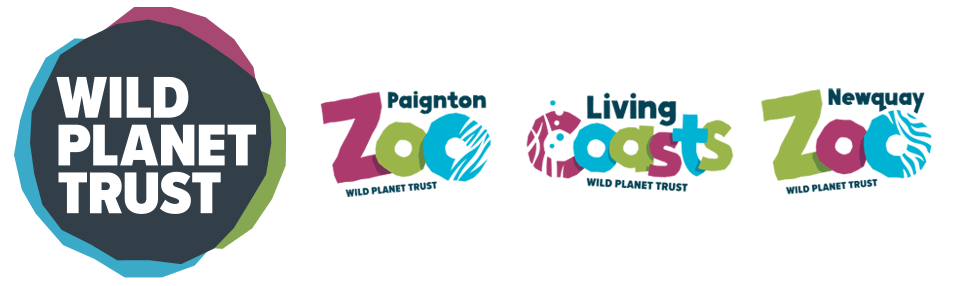 Wild Planet Trust logo with Paignton Zoo, Newquay Zoo and Living Coast