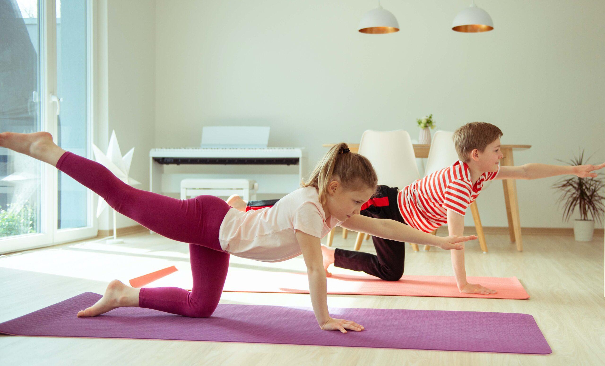 children exercising at home
