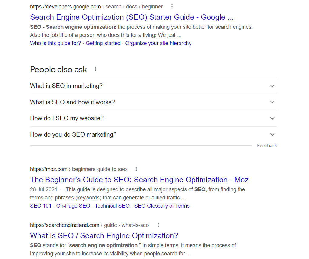 example search page result for SEO