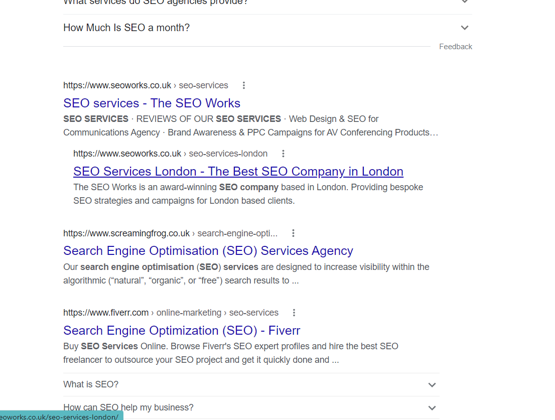 example of search intent for seo services